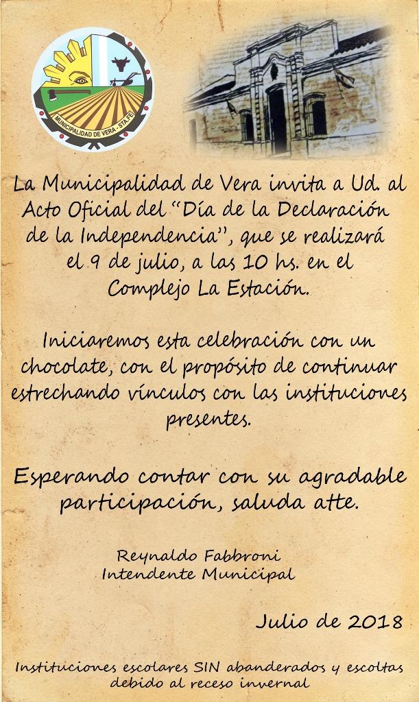 Invitación Al Acto Oficial Del 9 De Julio Y Cronograma De