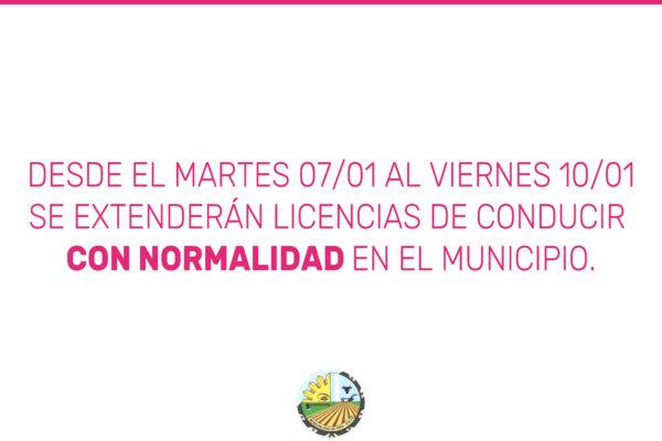 Del 7 al 10 de enero se extenderán licencias de conducir